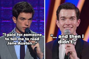 """John Mulaney talks into a microphone with the quote """"I paid for someone to tell me to read Jane Austin and then I didn't"""""""
