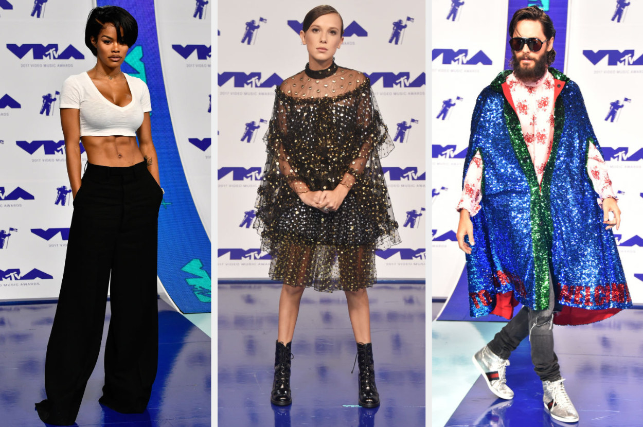 Teyana shows off killer abs in a crop top and wide-leg pants, Millie wears an elegant rhinestone-studded tiered dress, Jared wears a sequin cape over a button down top and jeans