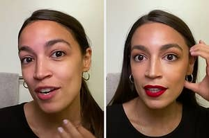 Alexandria Ocasio Cortez before and after her morning makeup routine.