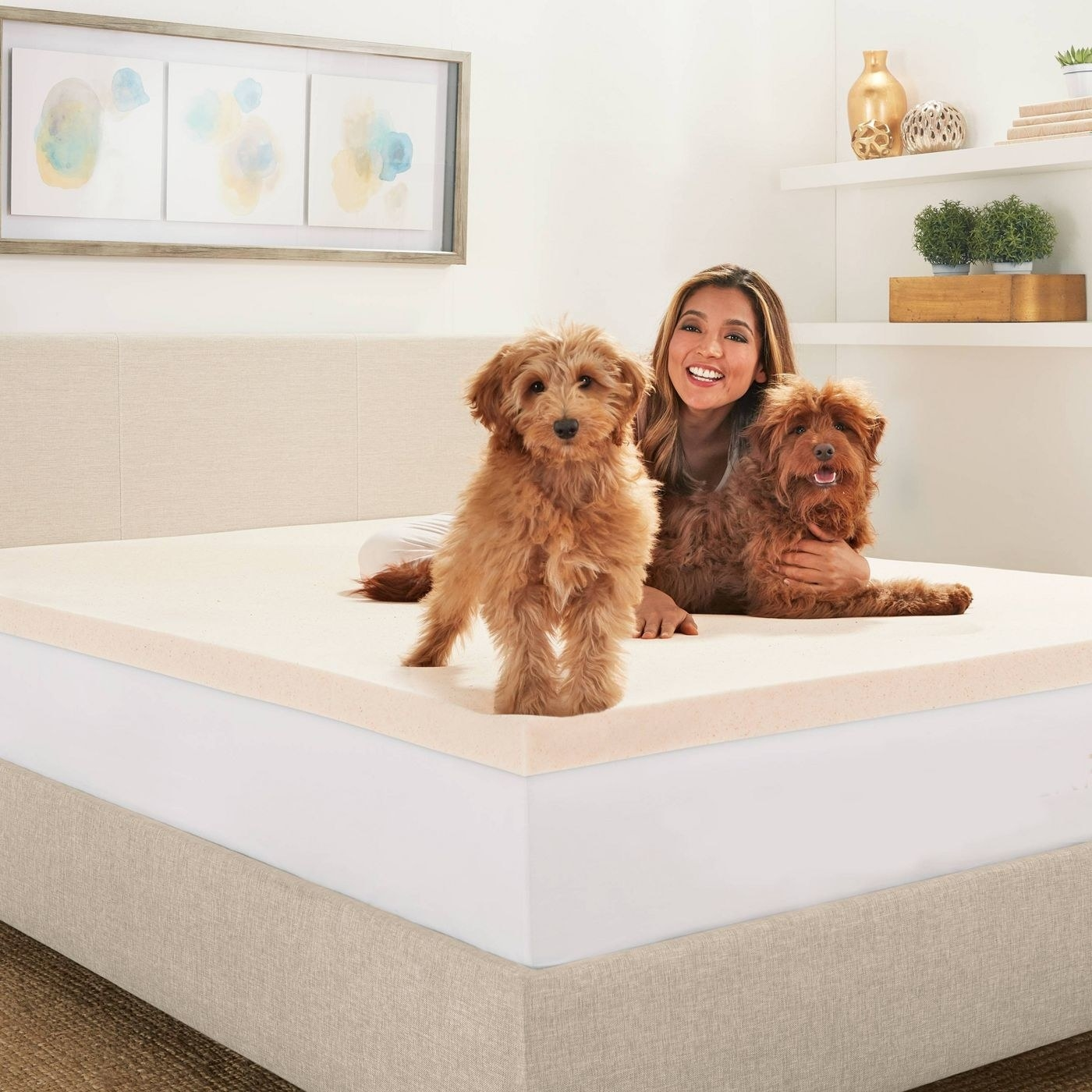 The peach-toned topper on a bed; a model and two very cute model dogs are relaxing on it
