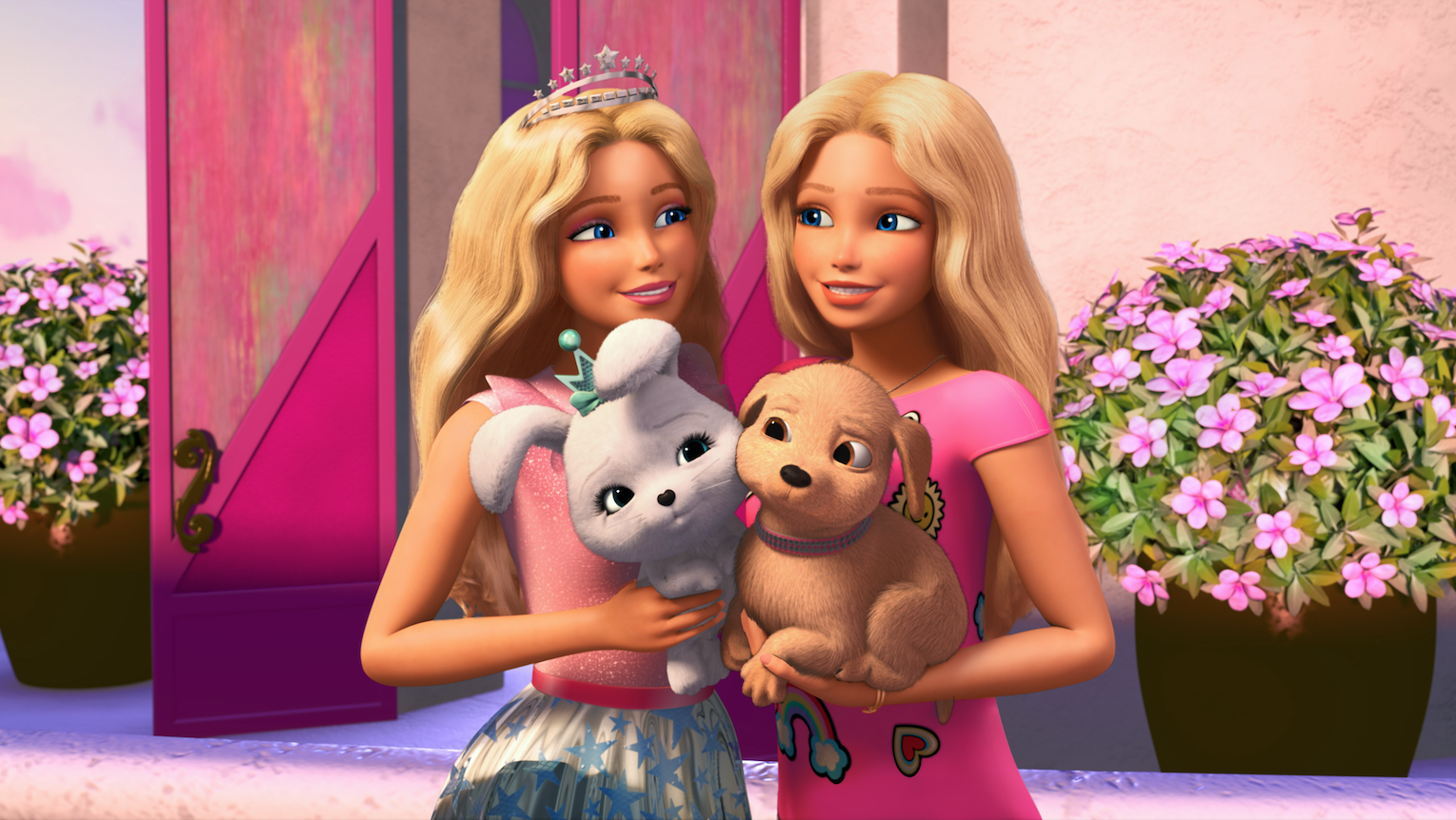 Barbie and friend standing side by side, holding two dogs