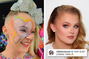 Side by side of JoJo Siwa in a colourful and glittered makeup look and a glam makeup look