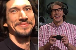 An extremely close up image of Adam Driver smiling into the camera at SNL next to an image of him laughing and playing a video game