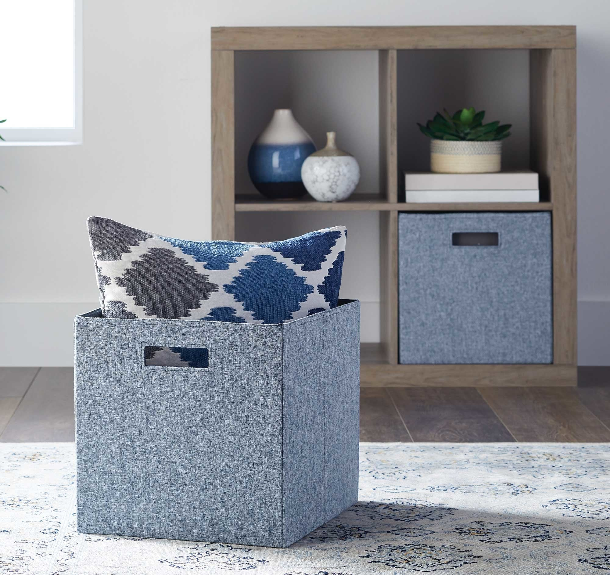 The storage bins in the washed indigo color