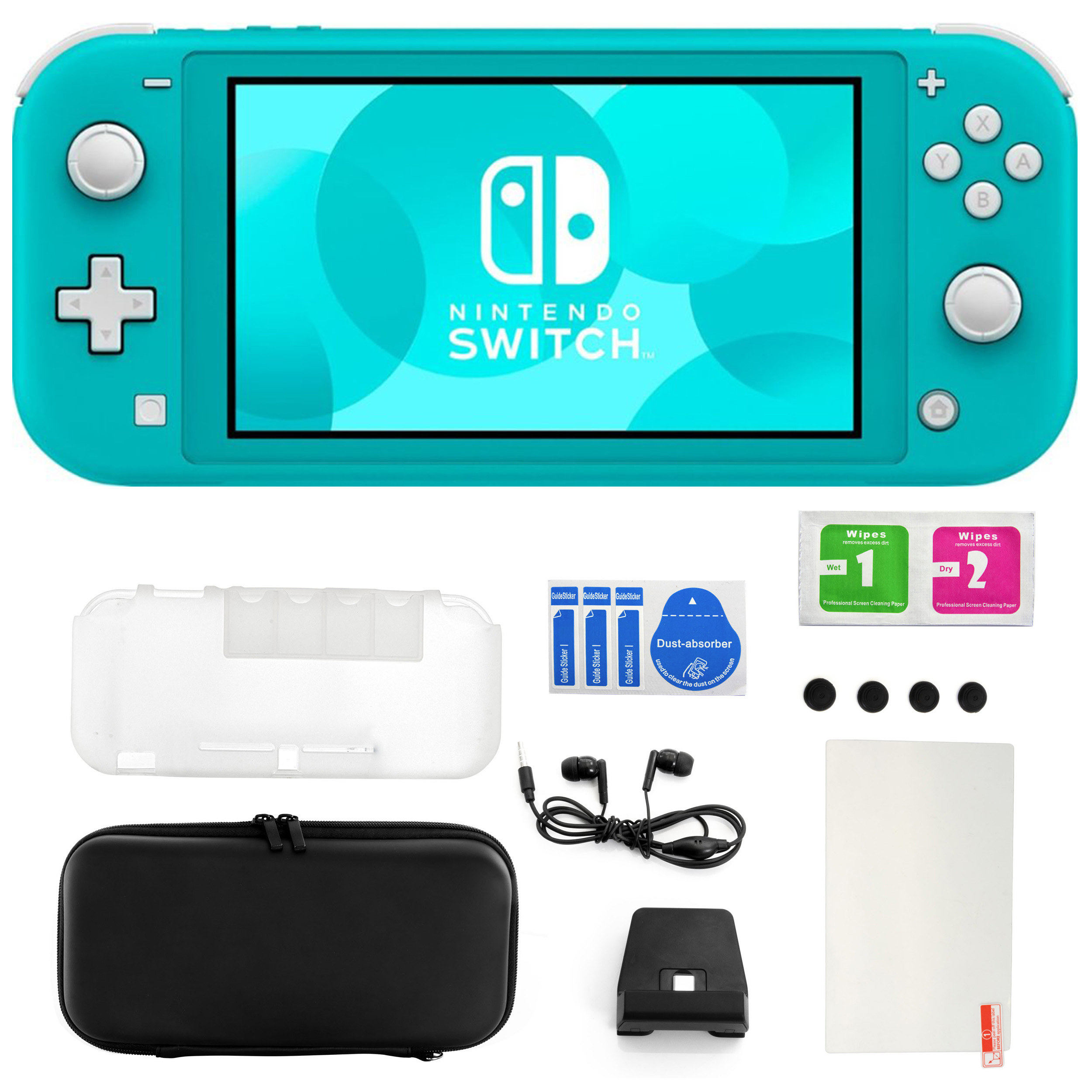The turquoise Nintendo Switch with the various items that come in the kit