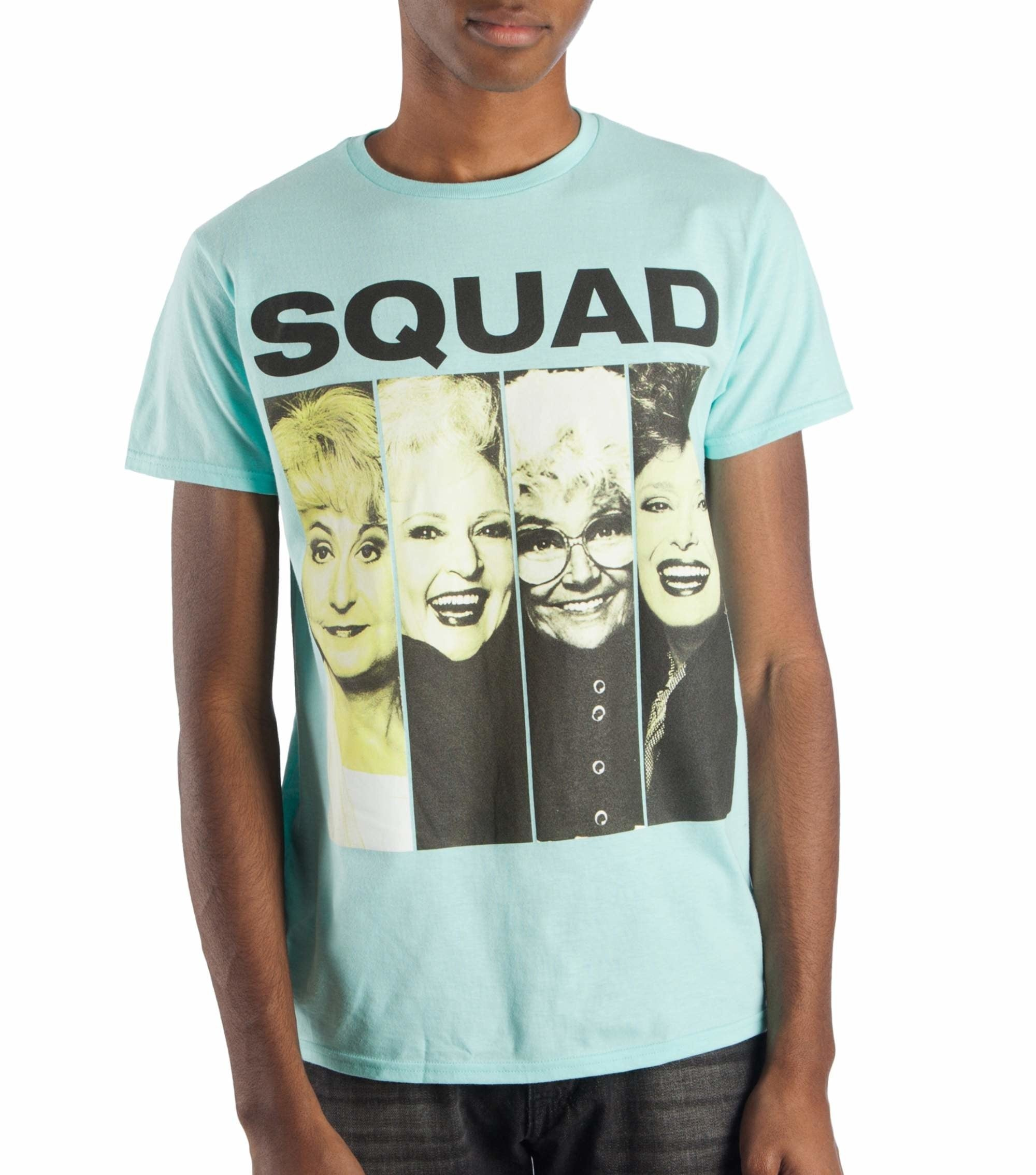 """A person wearing the light blue shirt with pictures of The Golden Girls on it that reads """"Squad"""""""