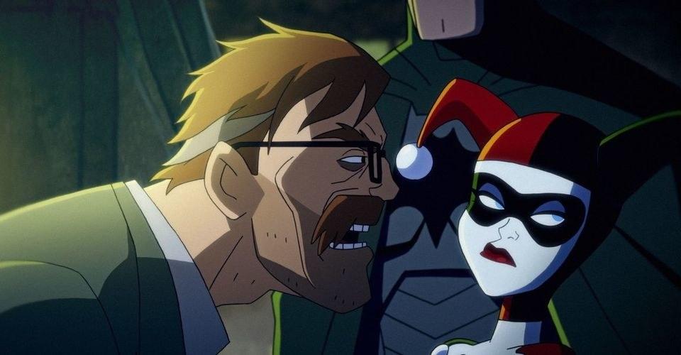 Animated Chris Meloni as Jim Gordon yelling at Harley Quinn