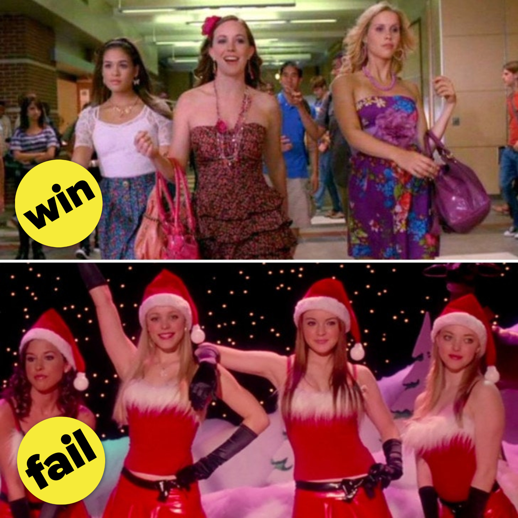 "Jo, Abby, and Mandi walking down the hallway; Gretchen, Regina, Cady, and Karen performing ""Jingle Bell Rock"" at the talent show"