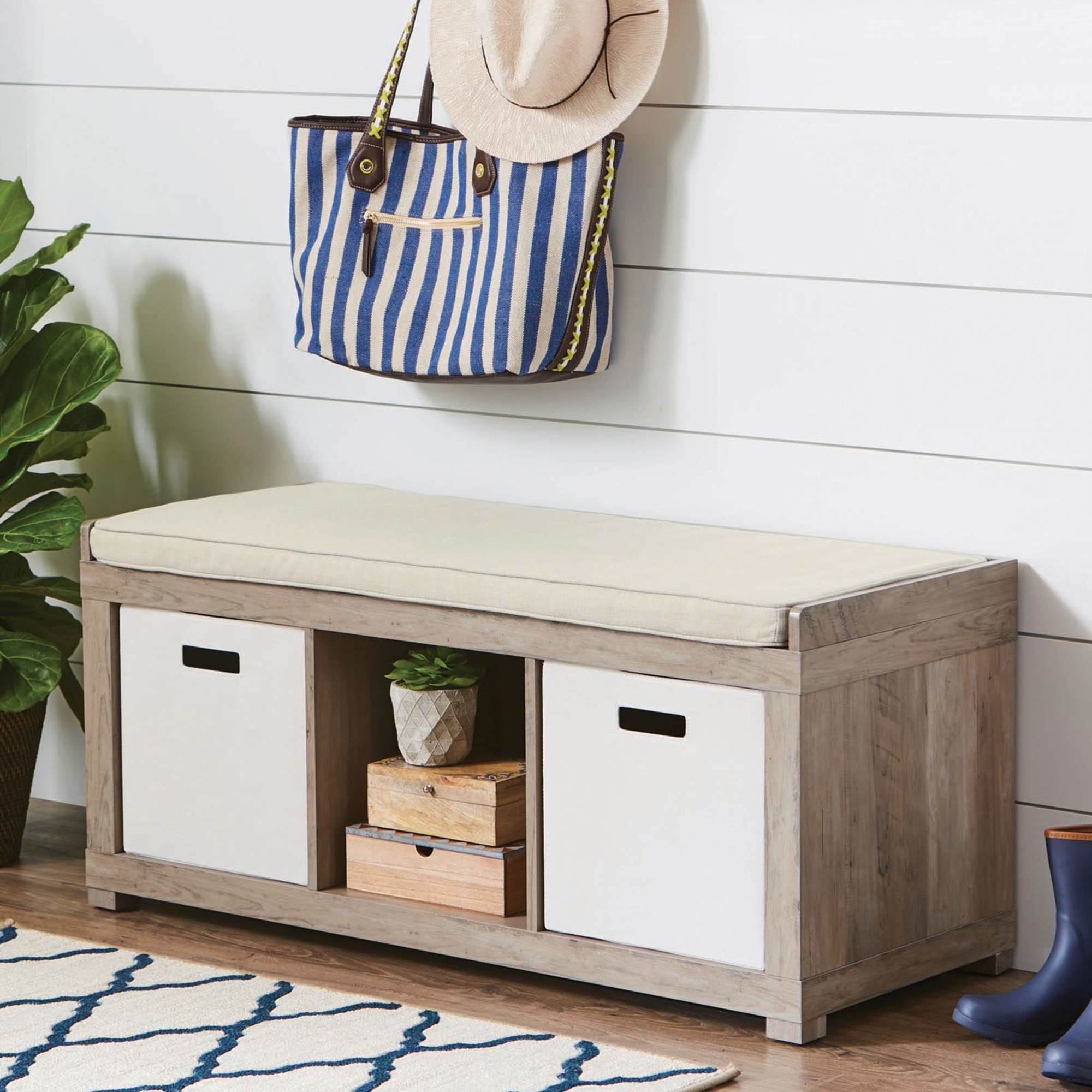 The storage bench organizer in rustic gray
