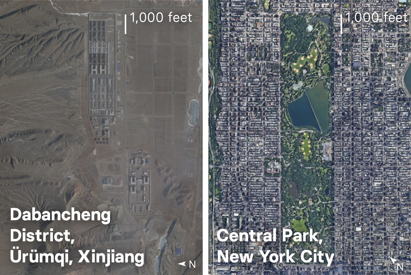 One of the facilities in Dabancheng appears to be about half the size of Central Park in New York City