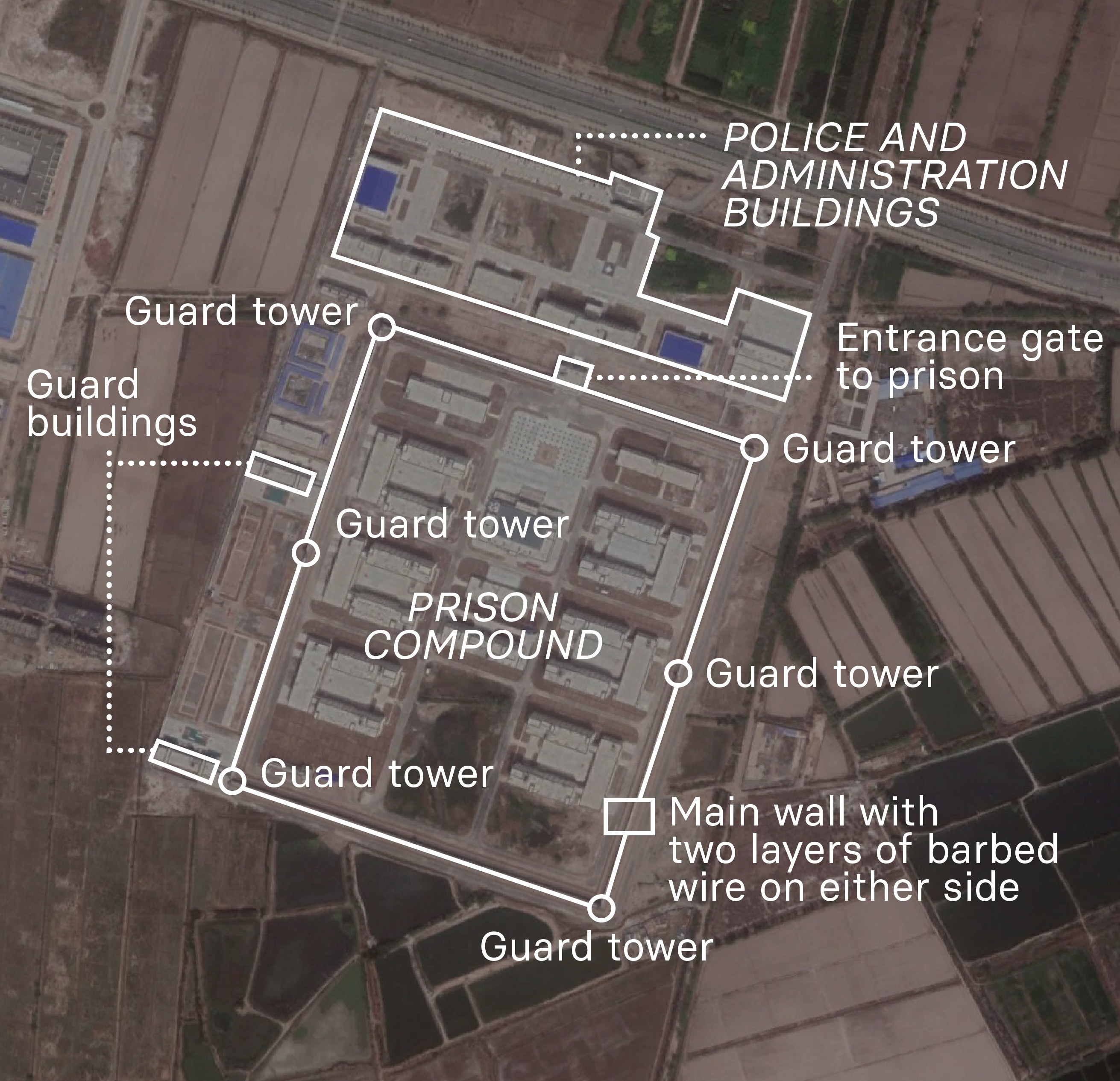 A satellite image is annotated to describe what we know about the camp at Shufu