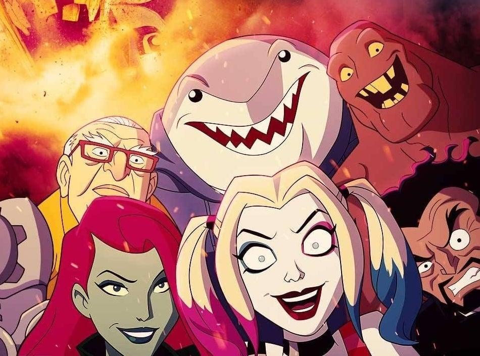 Animated Harley Quinn, Poison Ivy, King Shark, Clayface, Sy Borgman, and Dr. Psycho