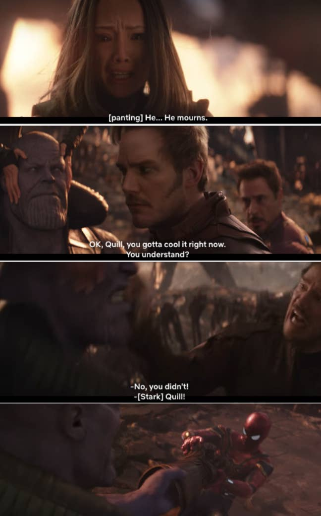 """Star-Lord preventing The Avengers from getting the Gauntlet off of Thanos's hand in """"Infinity War"""""""