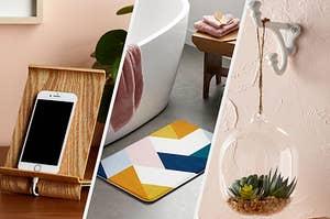 A phone, a bath mat, and a terrarium