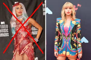 Lady Gaga's 2010 raw meat dress crossed out next to Taylor Swift's 2019 sequin blazer