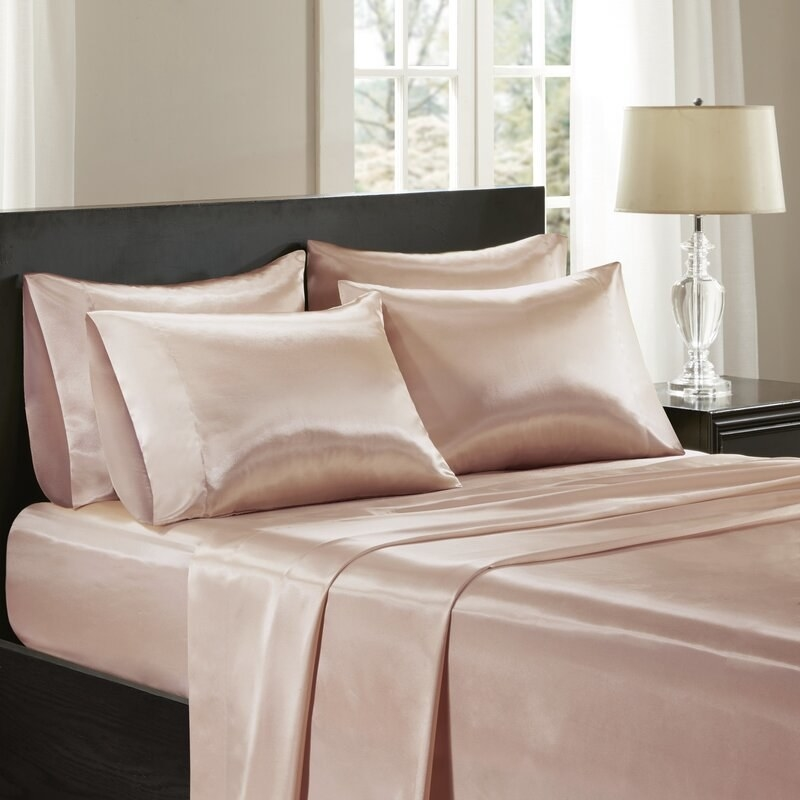 The Twillery Co.'s satin weave microfiber sheets in a blush color