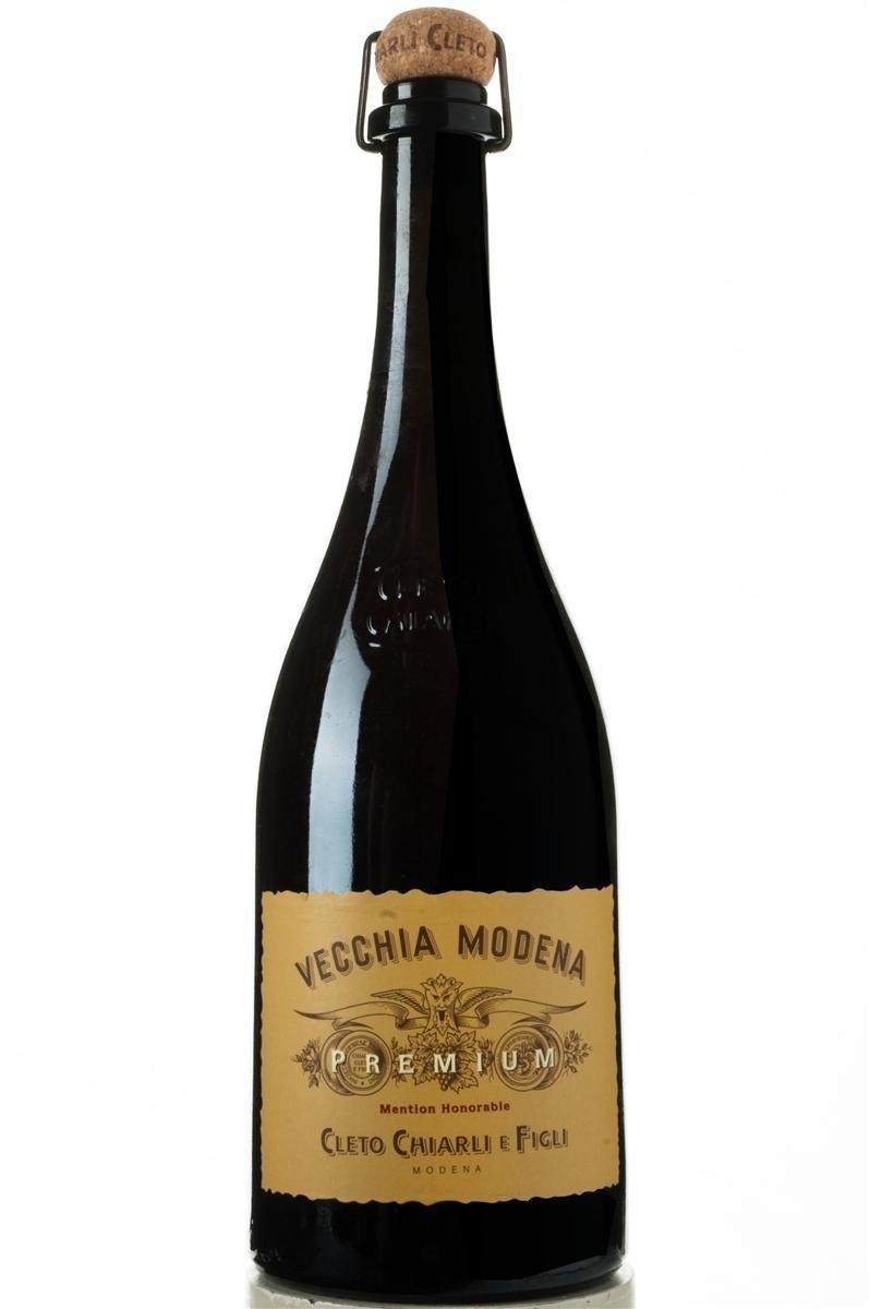 A bottle of sparkling red Cleto Chiarli Lambrusco di Sorbara Vecchia Modena.