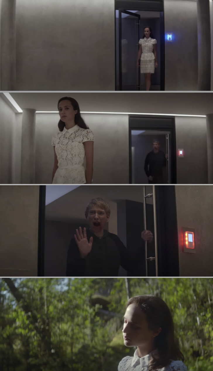 """Ava escaping the fortress and trapping Caleb in """"Ex Machina"""""""