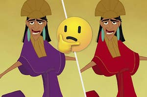 Two versions of Kuzco with a confused emoji in between