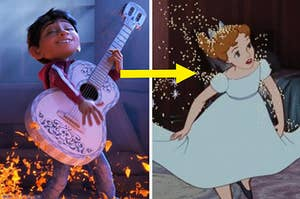 Miguel from Coco playing the guitar and Wendy from peter pan covered in pixie dust