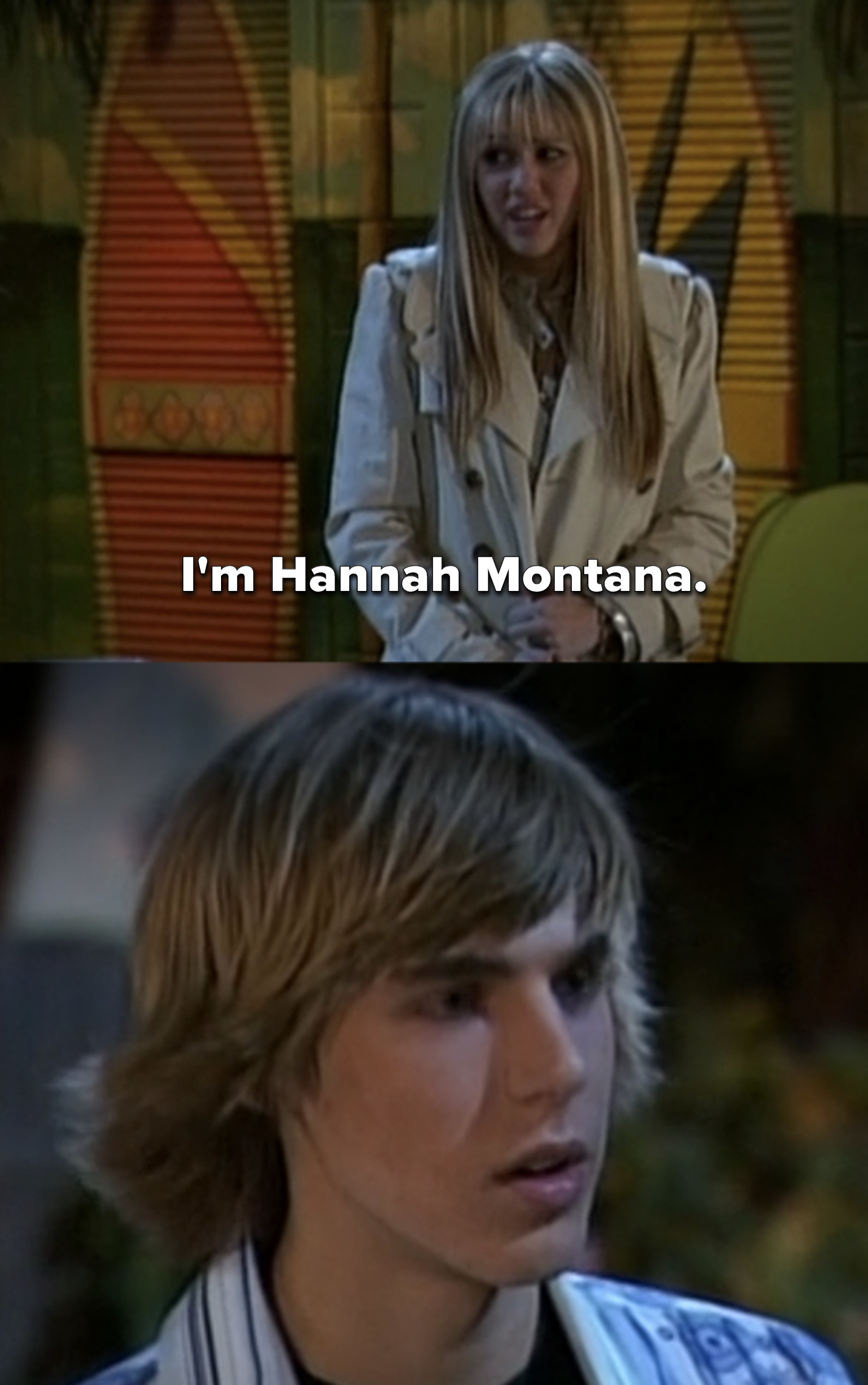 """Miley putting on her wig saying """"I'm Hannah Montana"""" to Jake, who looks shocked"""