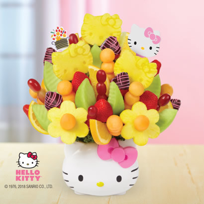 Bouquet of fruit nestled in a Hello Kitty–shaped container