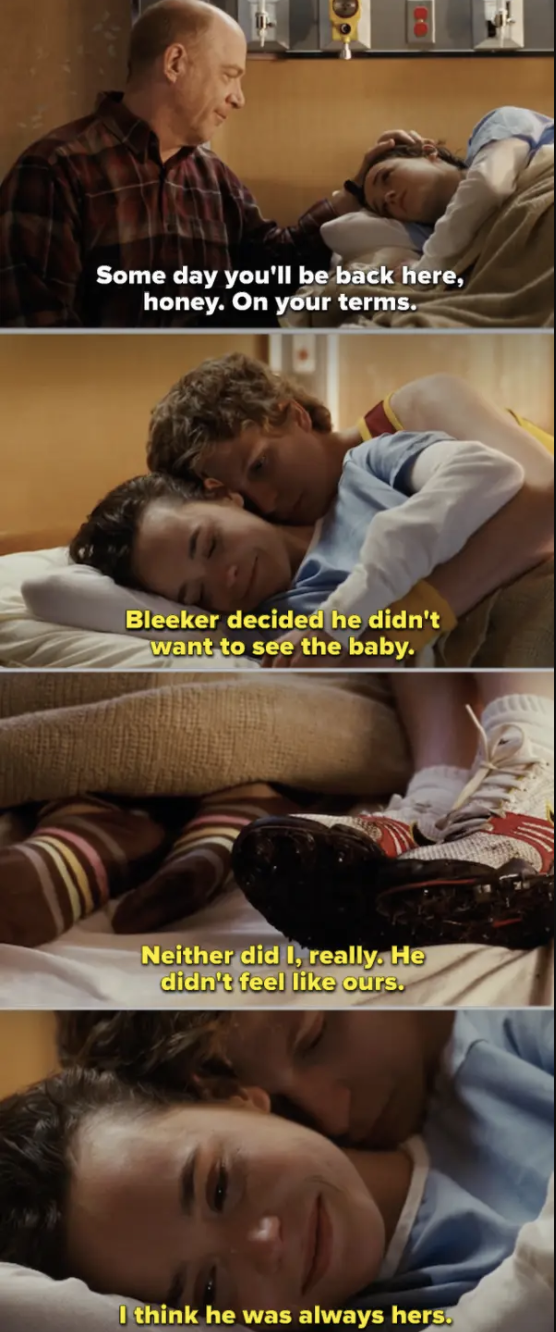 """Bleeker holding Juno on the hospital bed after she gives birth in """"Juno"""""""