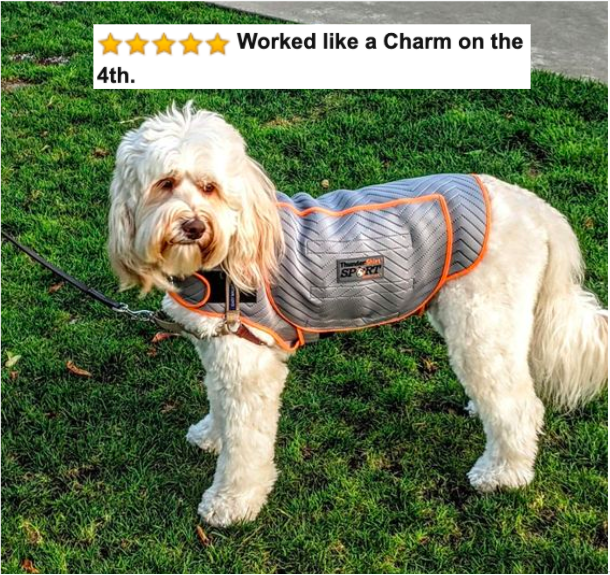 "reviewer's dog wearing the vest with five-star Amazon caption that say ""worked like a charm on the 4th"""