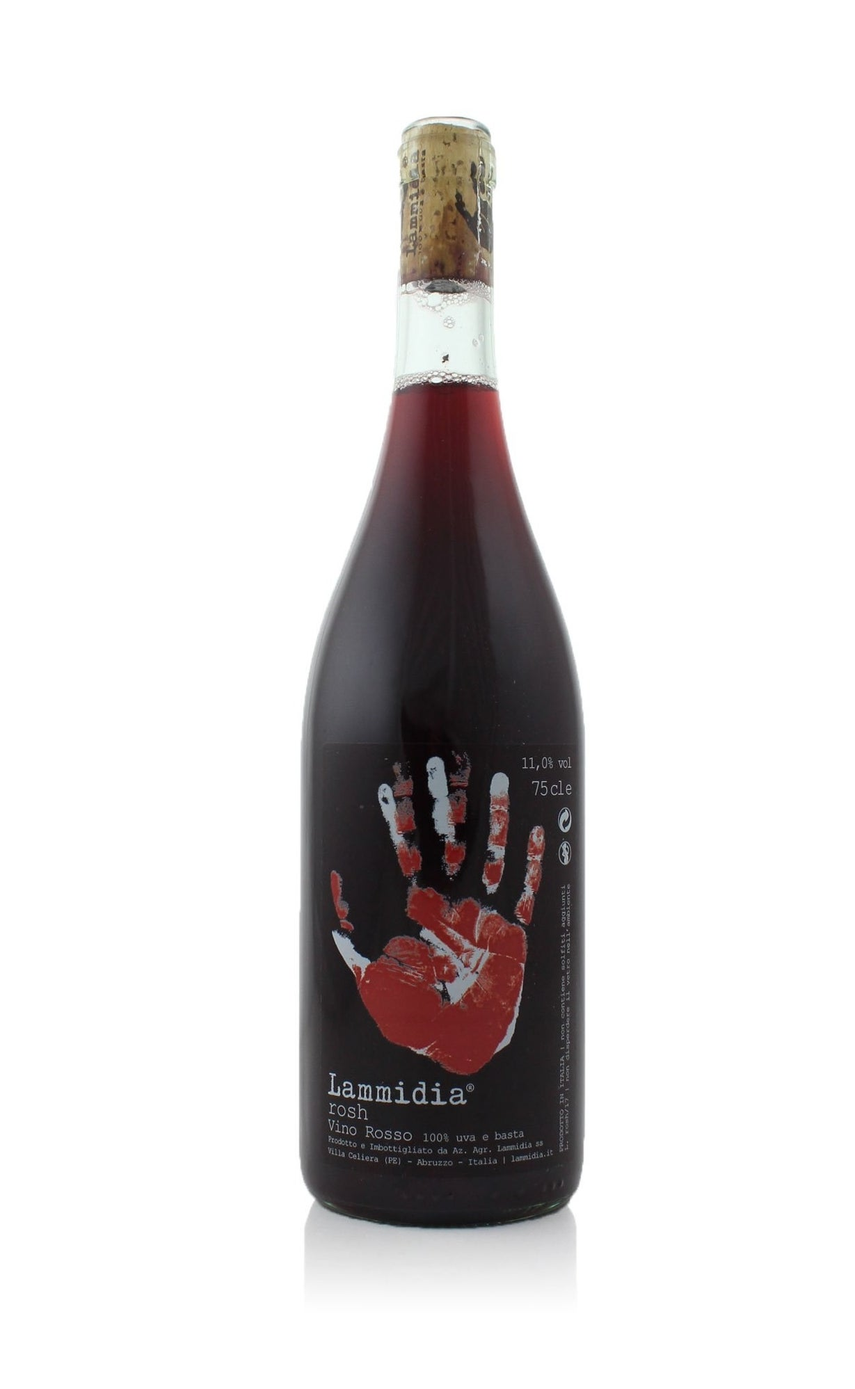 A bottle of red Lammidia Rosh Rosso wine.