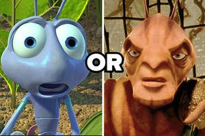 """Flik from """"A Bug's Life"""" is on the left with """"or"""" written in the center and General from """"Antz"""" on the right"""