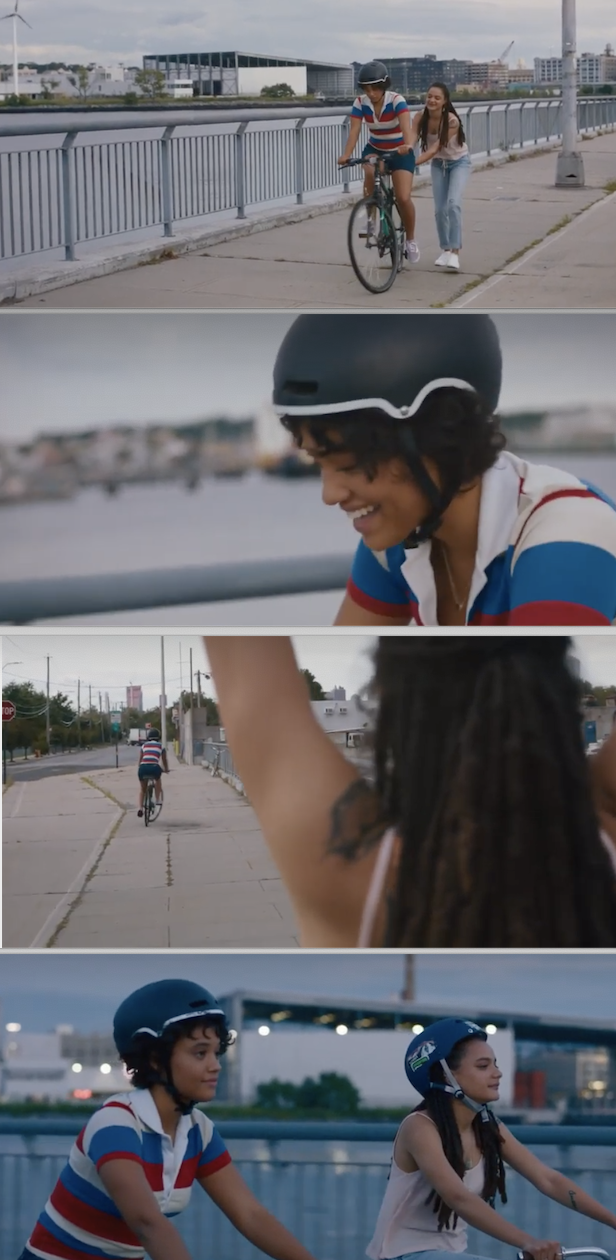 "Rose teaching Sam how to ride a bike in ""Hearts Beat Loud"""