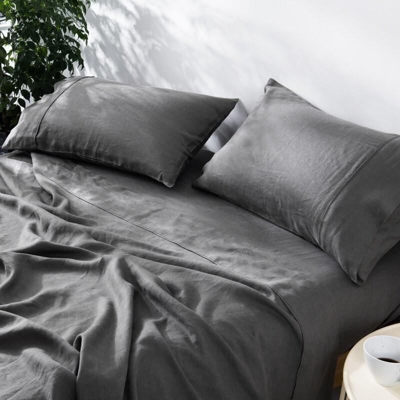 Rosecliff Height's Winn linen sheets in charcoal gray