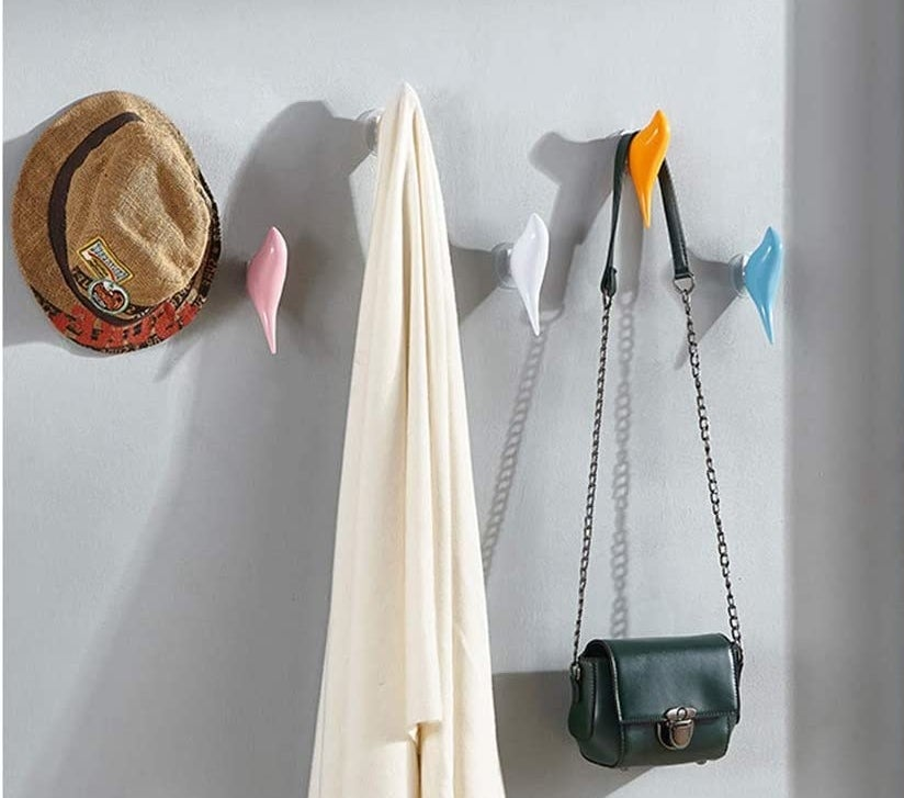 The bird hooks mounted on a wall and containing a hat, a purse, and a robe