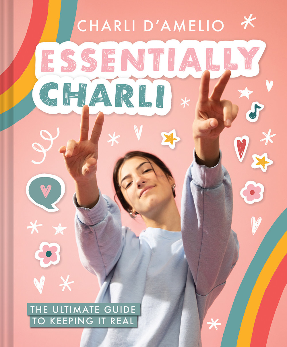Charli holding peace signs up on her book cover with stars and rainbows