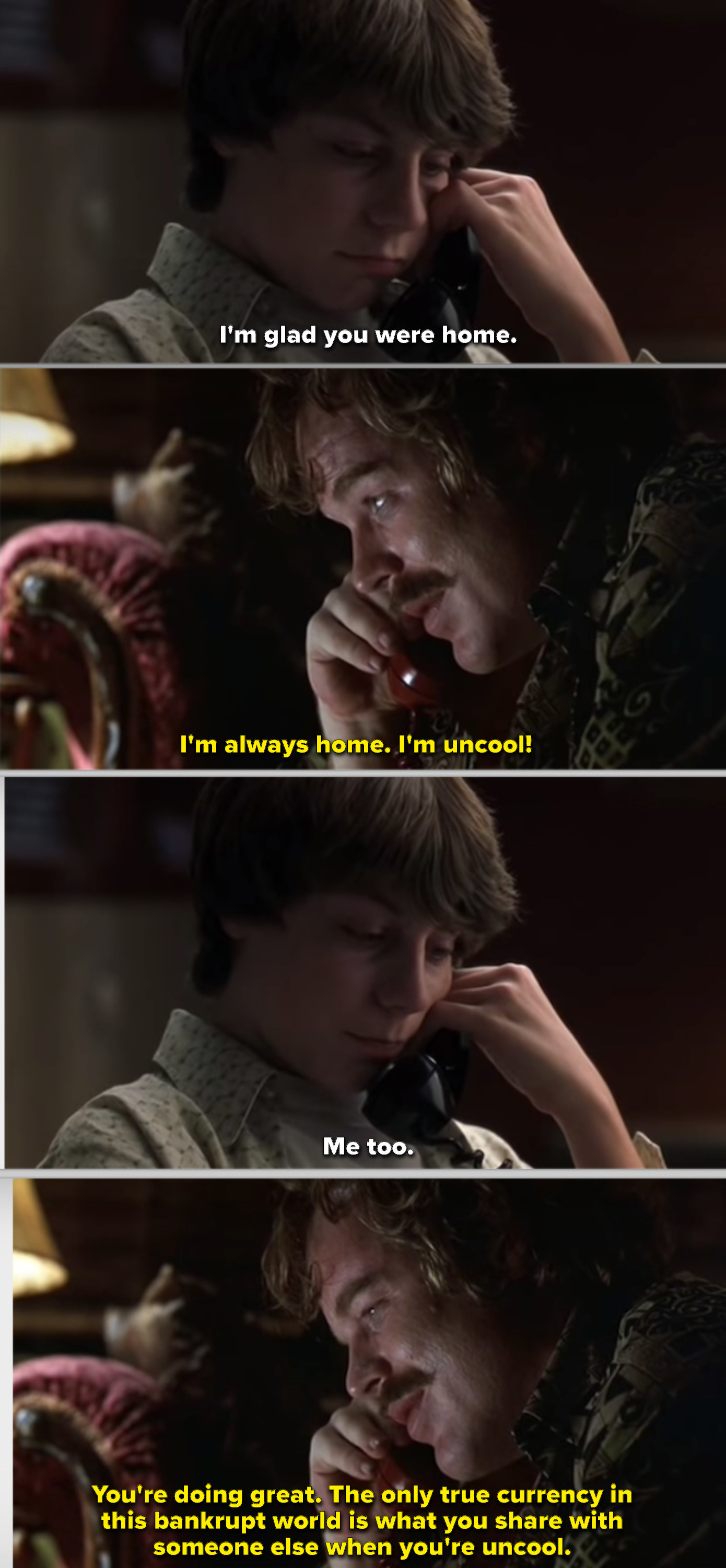 Lester talking on the phone with William about being uncool