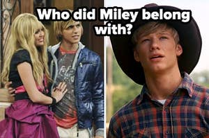 """Miley and Jake are cuddled on the left with Travis on the right labeled, """"Who did Miley belong with?"""""""