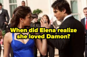 """Elena and Damon dancing at the Miss Mystic Falls pageant with the question, """"When did Elena realize she loved Damon?"""""""