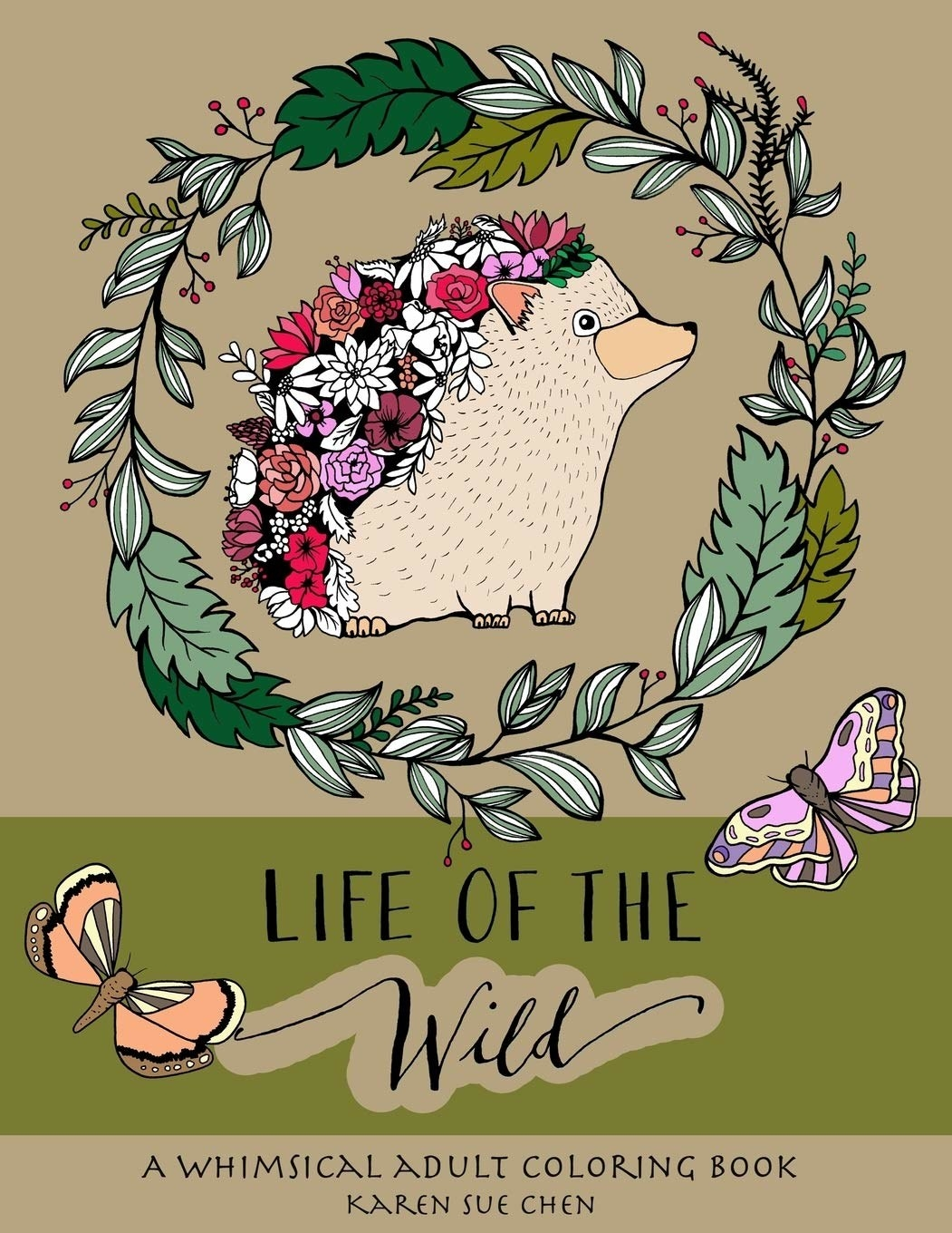 Cover of the coloring book, featuring a hedgehog and woodland designs
