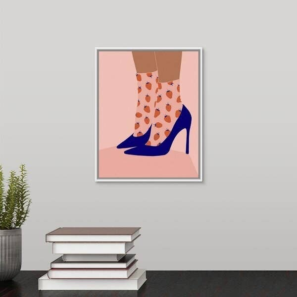 Painting of feet in blue high heels with strawberry patterned socks