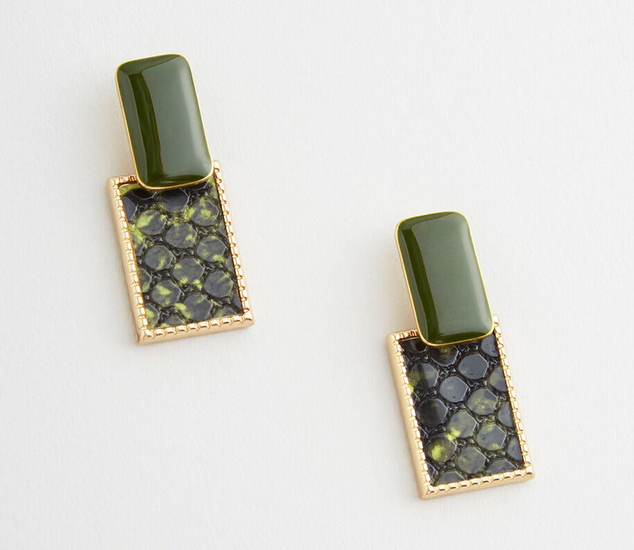 A faux sage green gemstone with a faux green snakeskin square attached