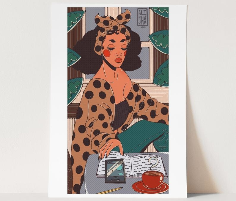 Black woman graphic novel-style portrait in cafe with drink and cell phone