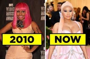 Nicki Minaj in 2010 and Nicki Minaj now