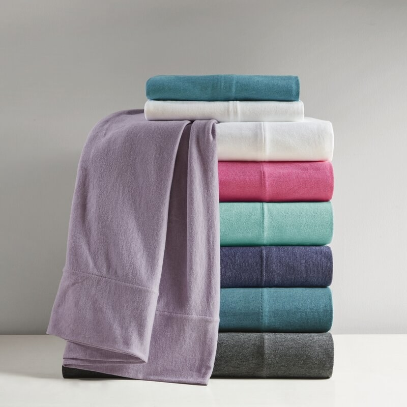 Ebern Designs jersey knit sheet set available in seven colors
