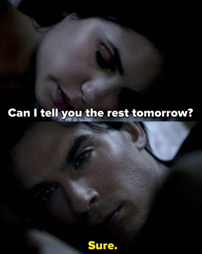 Elena asks if she can tell Damon the rest the next day and Damon says sure