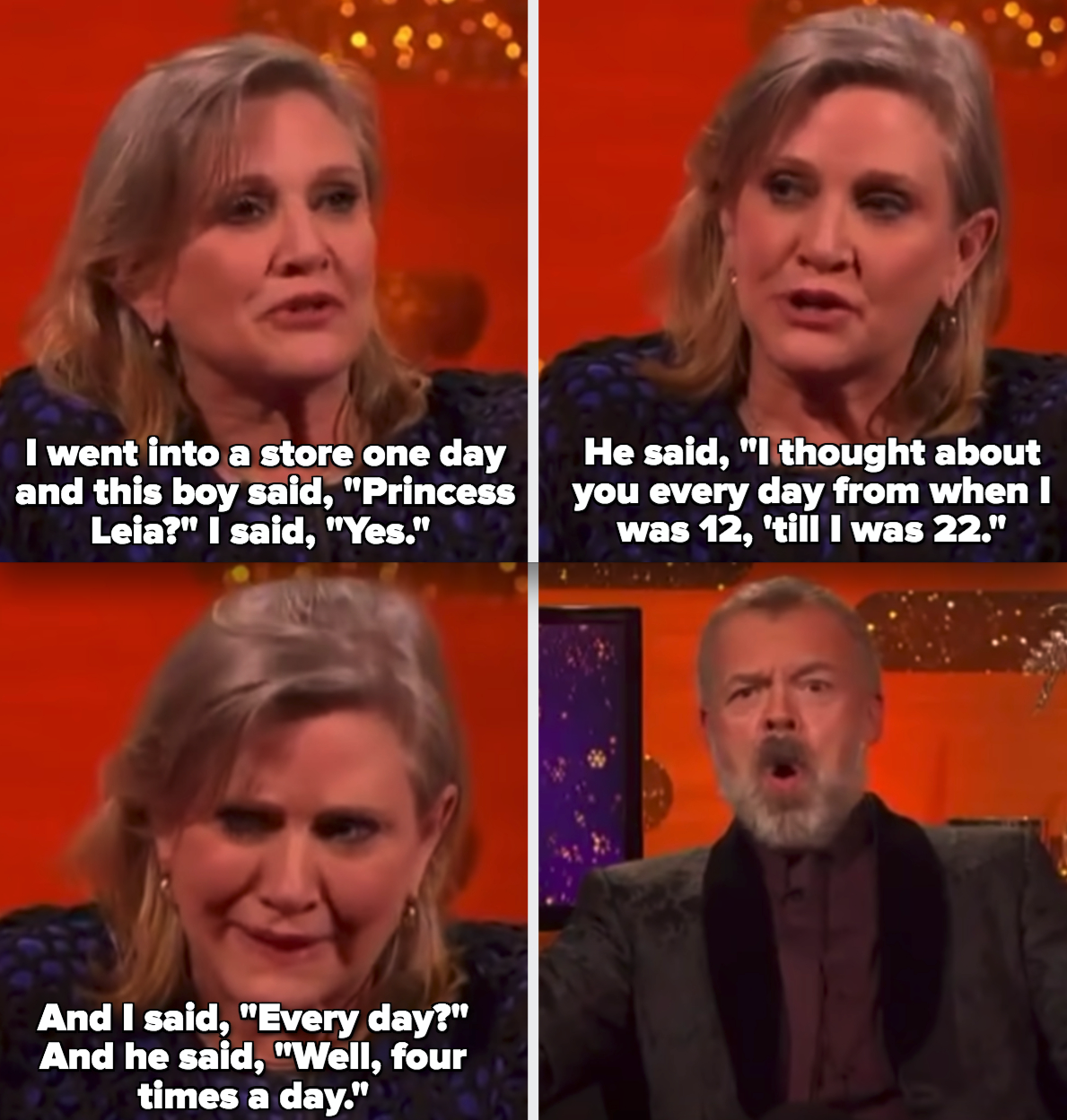 """Carrie Fisher telling a story about meeting a young male """"Star Wars"""" fan who masturbated to her Princess Leia character"""