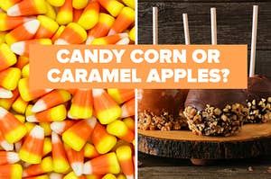 Candy corn and caramel apples.