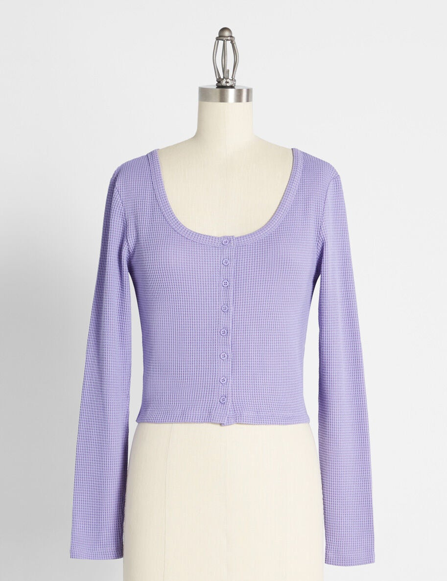 Scoop-neck knit long-sleeved top with buttons down the middle