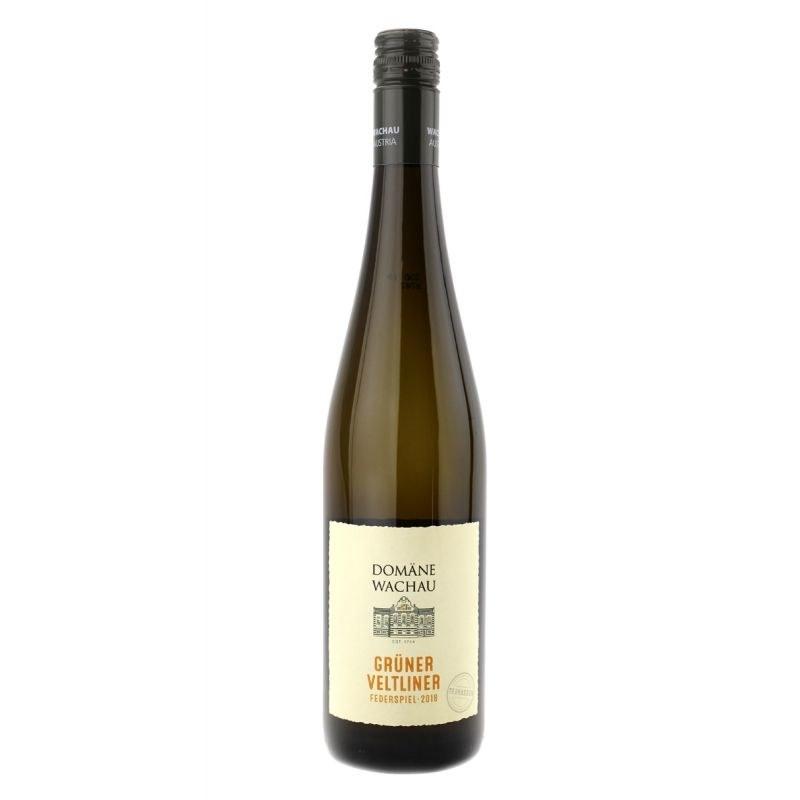 A bottle of white Domane Wachau Federspiel Terrassen Gruner Veltliner.