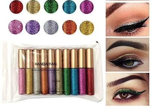 A set of ten colourful eyeliners and eyes showing off looks with them