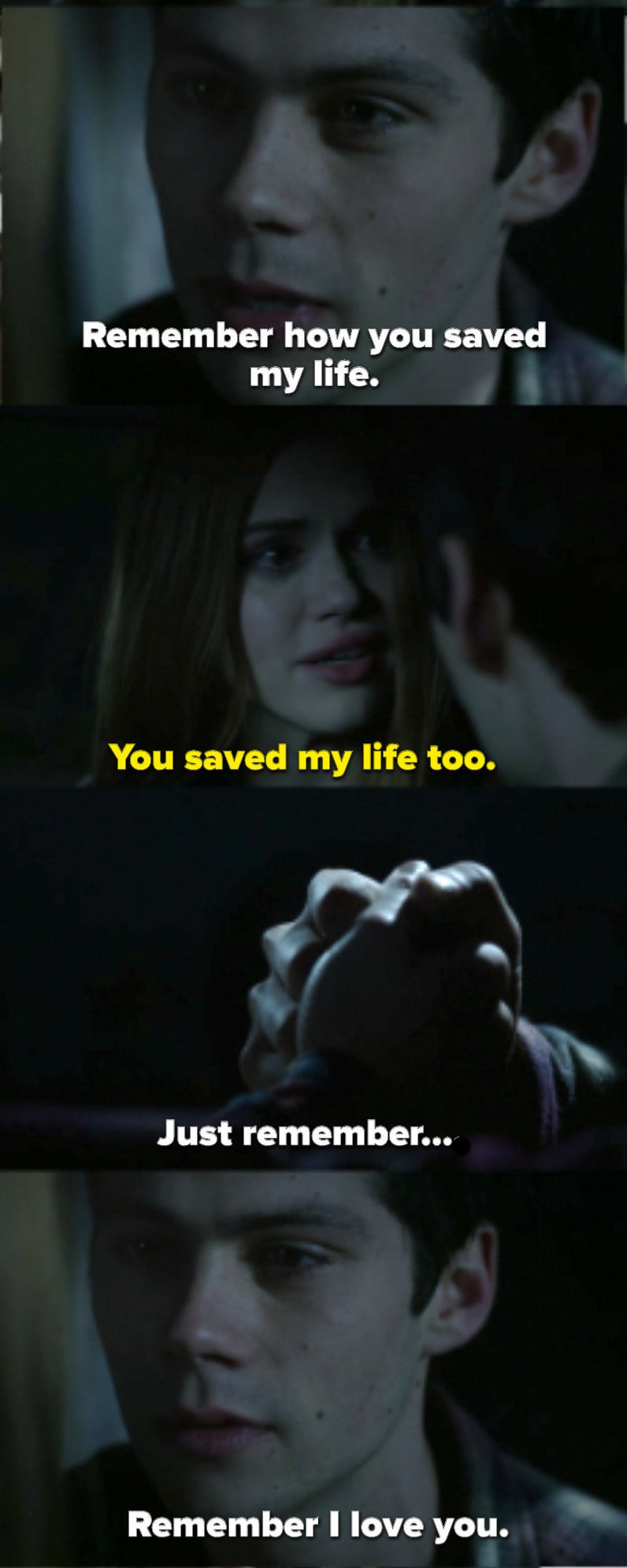 """Stiles asks Lydia to find some way to remember him. That they danced together, that he had a crush on her, that she saved his life. She says he saved hers too. Then Stiles says, """"Remember I love you"""""""